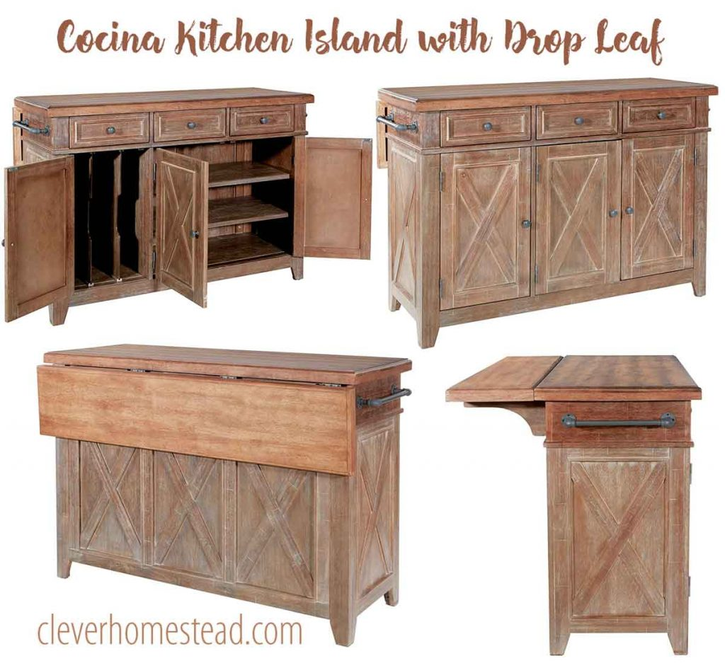 Cocina Kitchen Island with Drop Leaf