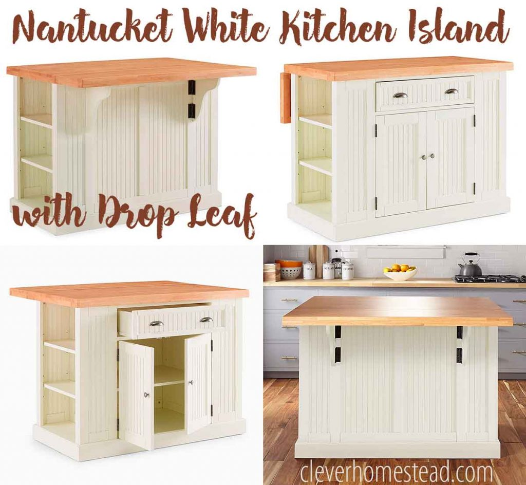 Nantucket White Kitchen Island with Drop Leaf